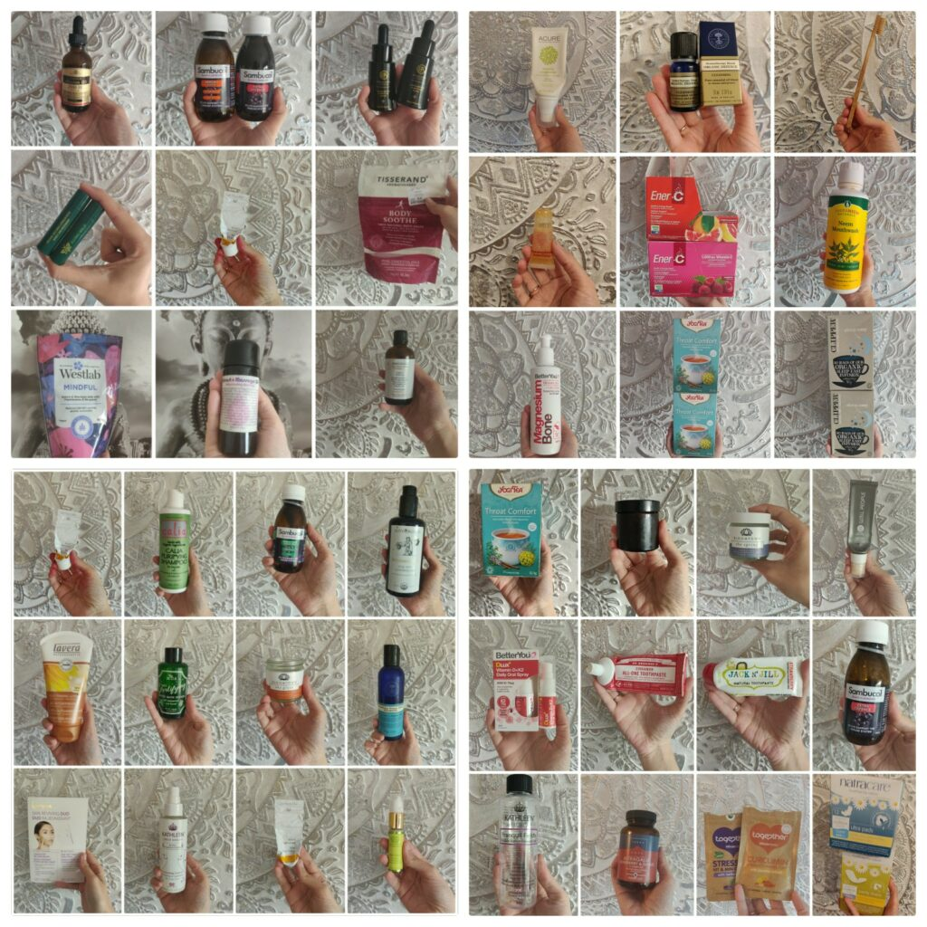 Natural and organic products empties